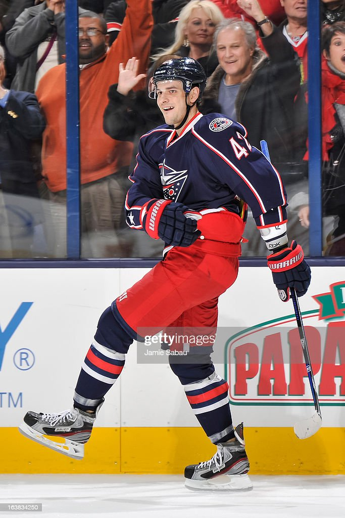 Artem Anisimov #42 of the Columbus Blue Jackets celebrates a shootout goal against the Chicago Blackhawks on March 14, 2013 at Nationwide Arena in Columbus, Ohio.