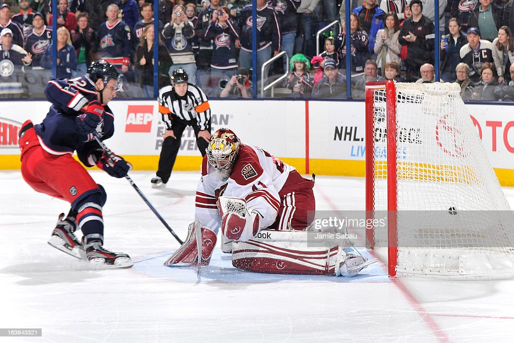 Artem Anisimov of the Columbus Blue Jackets scored a shootout goal on goaltender Mike Smith of the Phoenix Coyotes on March 16 2013 at Nationwide...