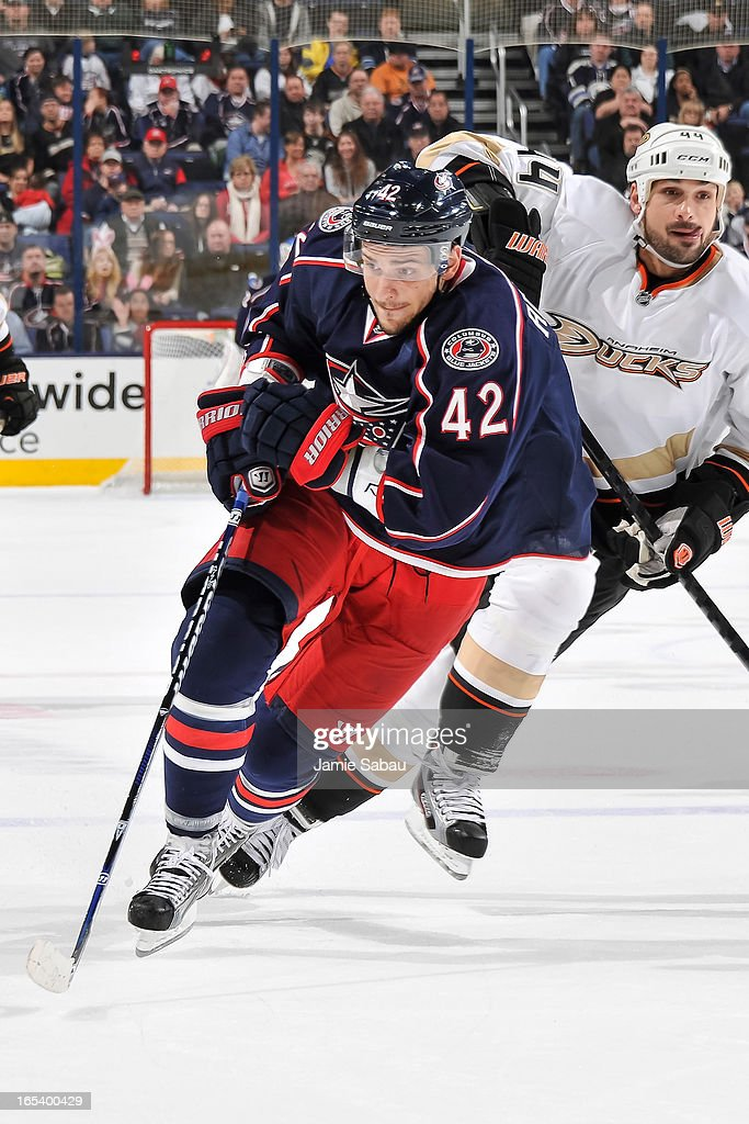 Artem Anisimov #42 of the Columbus Blue Jackets skates against the Anaheim Ducks on March 31, 2013 at Nationwide Arena in Columbus, Ohio.