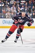 Artem Anisimov of the Columbus Blue Jackets skates against the Toronto Maple Leafs on April 8 2015 at Nationwide Arena in Columbus Ohio