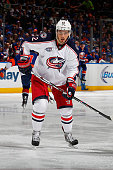 Artem Anisimov of the Columbus Blue Jackets skates against the New York Islanders at Nassau Veterans Memorial Coliseum on April 11 2015 in Uniondale...