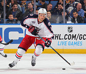 Artem Anisimov of the Columbus Blue Jackets skates against the Buffalo Sabres on October 9 2014 at the First Niagara Center in Buffalo New York