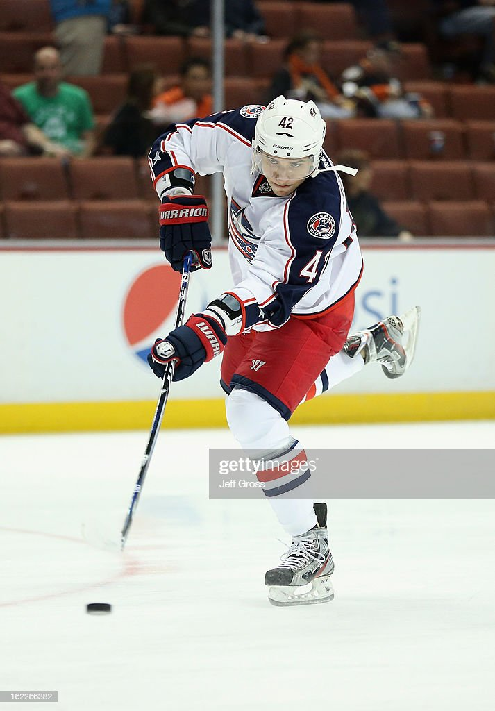 Artem Anisimov #42 of the Columbus Blue Jackets skates prior to the start of the game against the Anaheim Ducks at Honda Center on February 18, 2013 in Anaheim, California.