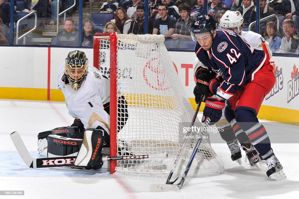 Artem Anisimov #42 of the Columbus Blue Jackets skates the puck around the net during the first period against the Anaheim Ducks on March 31, 2013 at Nationwide Arena in Columbus, Ohio.