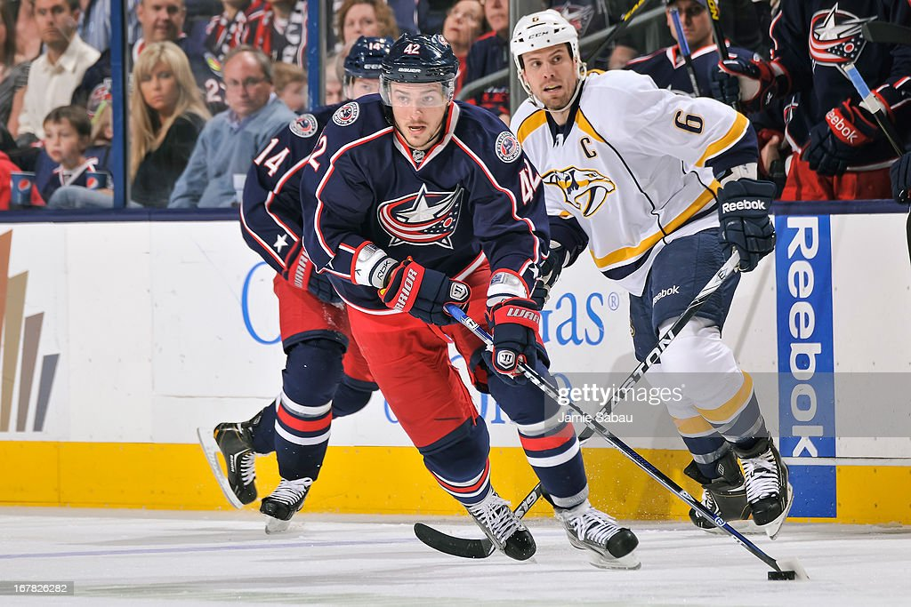 Artem Anisimov #42 of the Columbus Blue Jackets skates with the puck against the Nashville Predators on April 27, 2013 at Nationwide Arena in Columbus, Ohio.