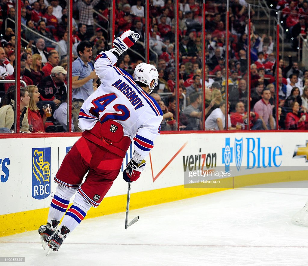 <a gi-track='captionPersonalityLinkClicked' href=/galleries/search?phrase=Artem+Anisimov&family=editorial&specificpeople=543215 ng-click='$event.stopPropagation()'>Artem Anisimov</a> #42 of the New York Rangers celebrates after scoring a goal against the Carolina Hurricanes during the second period at the RBC Center on March 1, 2012 in Raleigh, North Carolina.