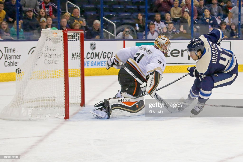 Artem Ansimov of the Columbus Blue Jackets beats Frederik Anderson of the Anaheim Ducks for a shorthanded goal during the second period on October 27...