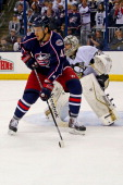 Artem Ansimov of the Columbus Blue Jackets positions himself in front of MarcAndre Fleury of the Pittsburgh Penguins during Game Six of the First...