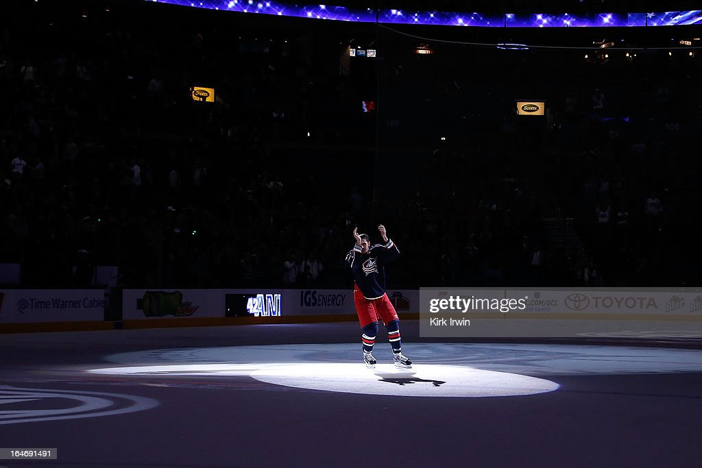 Artem Ansimov #42 of the Columbus Blue Jackets skates on the ice after being named one of the game's three stars during the game against the Calgary Flames on March 22, 2013 at Nationwide Arena in Columbus, Ohio.