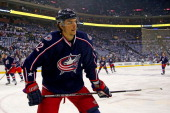 Artem Ansimov of the Columbus Blue Jackets warms up prior to the start of Game Six of the First Round of the 2014 NHL Stanley Cup Playoffs against...
