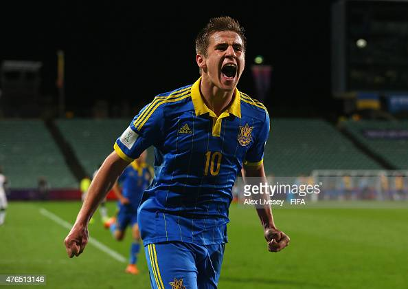 Artem Biesiedin of Ukraine celebrates after scoring the opening goal during the FIFA U20 World Cup round of 16 match between Ukraine and Senegal at...