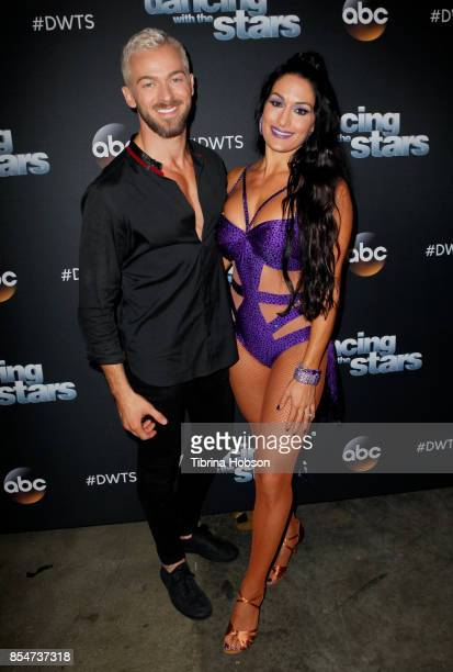 Artem Chigvintsev and Nikki Bella attend 'Dancing With The Stars' season 25 taping at CBS Televison City on September 26 2017 in Los Angeles...