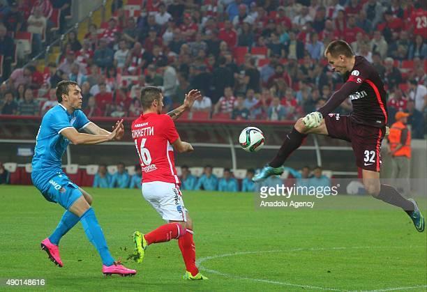 Artem Dzuba of Zenit StPetersburg and Salvatore Boketti Artem Rebrov of Spartak Moscow in action during the Russian Footbal PremierLeague match...