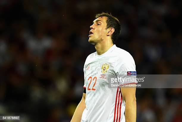 Artem Dzyuba of Russia reacts during the UEFA EURO 2016 Group B match between Russia and Wales at Stadium Municipal on June 20 2016 in Toulouse France