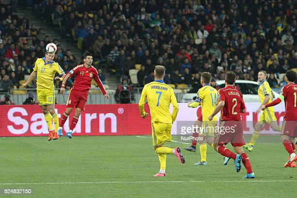 Artem Fedetskyi of Ukraine national team vies with Nolito of Spain during the European Qualifiers 2016 match between Ukraine and Spain national teams...
