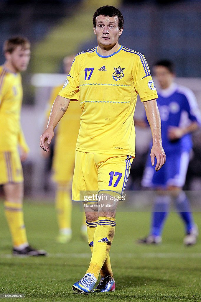 Artem Fedetskyy of Ukraine in action during the FIFA 2014 World Cup Qualifier Group H match between San Marino and Ukraine at Serravalle Stadium on October 15, 2013 in Serravalle, Italy.