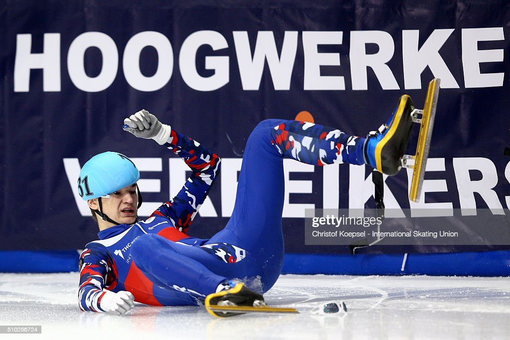 Artem Kozlov of Russia falls down during men 500m semifinal heat one during Day 3 of ISU Short Track World Cup at Sportboulevard on February 14, 2016 in Dordrecht, Netherlands.