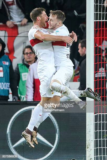 Artem Kravets of Stuttgart celebrates his team's second goal with team mate Alexandru Maxim during the Bundesliga match between VfB Stuttgart and...