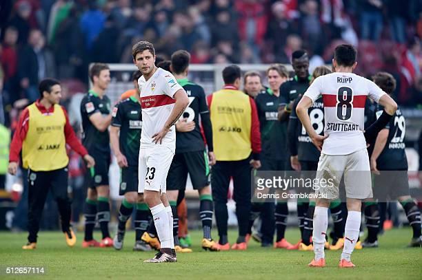 Artem Kravets of VfB Stuttgart looks dejected after the Bundesliga match between VfB Stuttgart and Hannover 96 at MercedesBenz Arena on February 27...