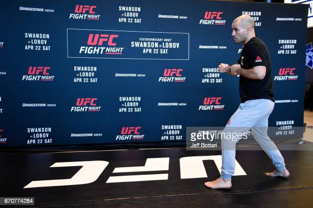 Artem Lobov of Russia holds an open workout for fans and media at the Bridgestone Arena Atrium on April 20 2017 in Nashville Tennessee