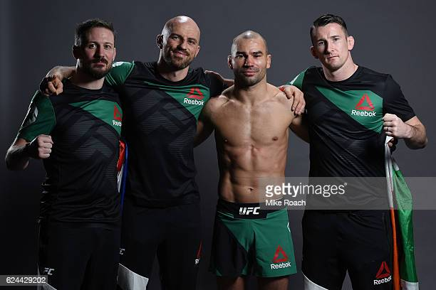 Artem Lobov of Russia poses for a portrait backstage after his victory over Teruto Ishihara during the UFC Fight Night at the SSE Arena on November...