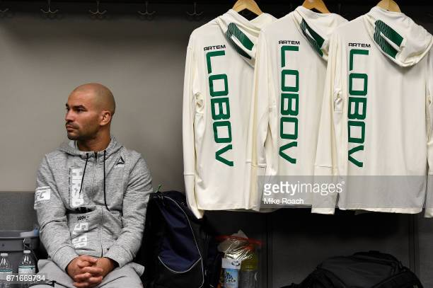 Artem Lobov of Russia relaxes in his locker room prior to his bout against Cub Swanson during the UFC Fight Night event at Bridgestone Arena on April...