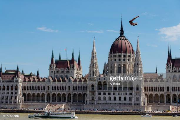 Artem Silchenko of Russia competes during the Men's High Diving on day seventeen of the Budapest 2017 FINA World Championships on July 30 2017 in...