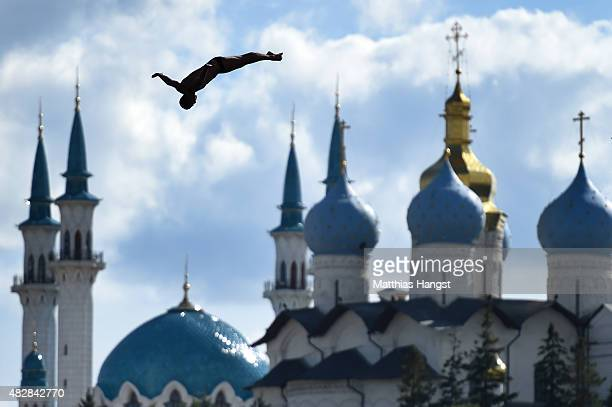 Artem Silchenko of Russia competes in the Men's High Diving 27m preliminary round on day ten of the 16th FINA World Championships at the Kazanka...
