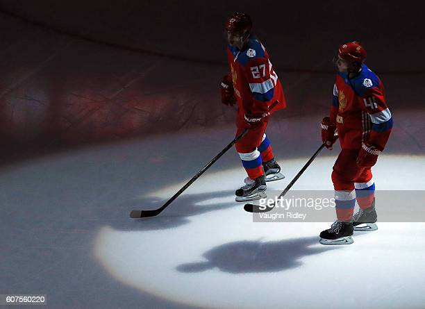 Artemi Panarin and Nikolay Kulemin of Team Russia skate onto the ice prior to a World Cup of Hockey 2016 game at Air Canada Centre on September 18...