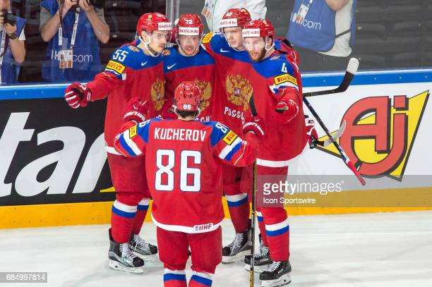 Artemi Panarin celebrates his goal with teammates during the Ice Hockey World Championship Quarterfinal between Russia and Czech Republic at...
