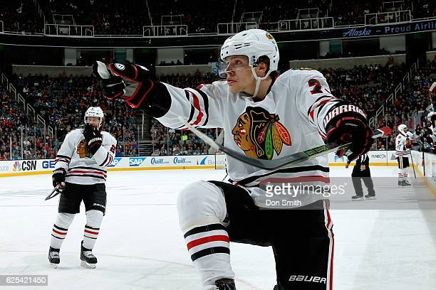 Artemi Panarin of the Chicago Blackhawks celebrates his second period goal during a NHL game against the San Jose Sharks at SAP Center at San Jose on...