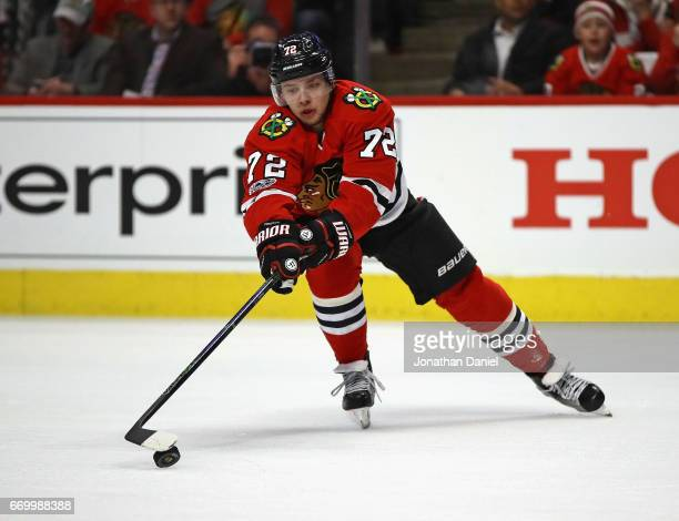 Artemi Panarin of the Chicago Blackhawks moves to the puck against the Nashville Predators in Game One of the Western Conference First Round during...