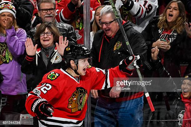 Artemi Panarin of the Chicago Blackhawks reacts after scoring against the Nashville Predators in the first period at the United Center on January 8...