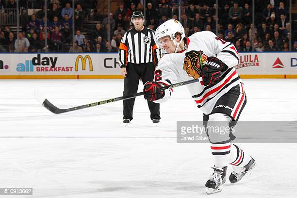 Artemi Panarin of the Chicago Blackhawks shoots and scores in the second period against the New York Rangers at Madison Square Garden on February 17...