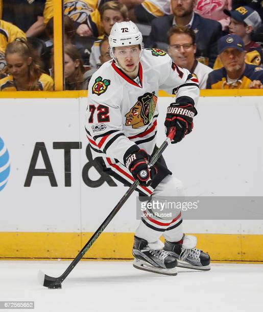 Artemi Panarin of the Chicago Blackhawks skates against the Nashville Predators in Game Four of the Western Conference First Round during the 2017...