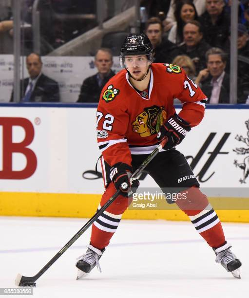 Artemi Panarin of the Chicago Blackhawks skates against the Toronto Maple Leafs during the second period at the Air Canada Centre on March 18 2017 in...