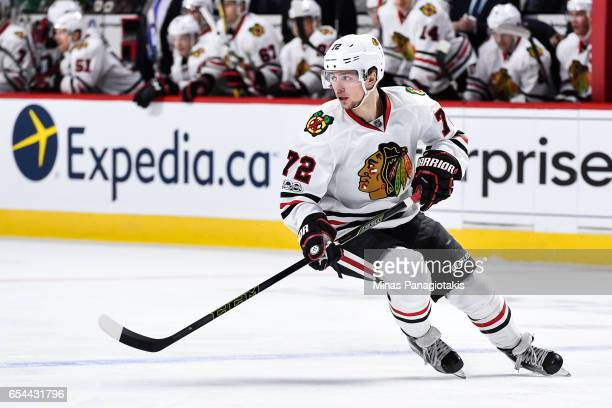 Artemi Panarin of the Chicago Blackhawks skates during the NHL game against the Montreal Canadiens at the Bell Centre on March 14 2017 in Montreal...
