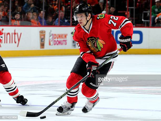 Artemi Panarin of the Chicago Blackhawks takes the puck in the first period against the Philadelphia Flyers on December 3 2016 at Wells Fargo Center...
