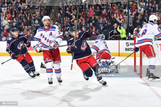Artemi Panarin of the Columbus Blue Jackets reacts after scoring his first goal as a Columbus Blue Jacket during the third period of a game against...