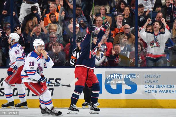 Artemi Panarin of the Columbus Blue Jackets reacts to a goal scored during the second period of a game against the New York Rangers on October 13...