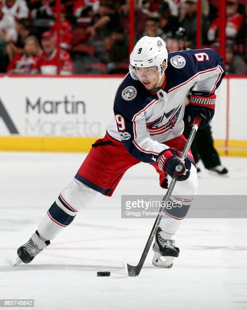 Artemi Panarin of the Columbus Blue Jackets skates with the puck during an NHL game against the Carolina Hurricanes on October 10 2017 at PNC Arena...