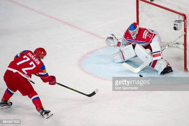 Artemi Panarin scores a goal against Goalie Pavel Francouz during the Ice Hockey World Championship Quarterfinal between Russia and Czech Republic at...