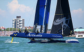 Artemis Racing skippered by Nathan Outerridge makes the turn during day two of the Louis Vuitton America's Cup World Series on July 23 2016 in...
