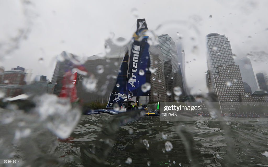 Artemis Racing Team Sweden sail during their practice race at the Louis Vuitton America's Cup World Series Racing on May 6, 2016 in New York City.