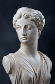 A copy of a stone bust of the Greek Goddess Artemis, daughter of Zeus, twin sister of Apollo.  This photograph provides a 2/3 view of the face and has dramatic low key lighting.