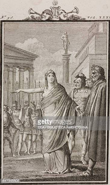 Artemisia and Clorideo engraving by Antonio Viviani from a drawing by G Steneri from Artemisia Act I Scene 7 Comedies Volume 32 by Carlo Goldoni