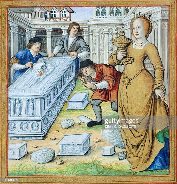 Artemisia puts her husband's ashes in his tomb miniature from The Lives of Famous Women by Antoine Dufour manuscript folio 35 verso France 16th...