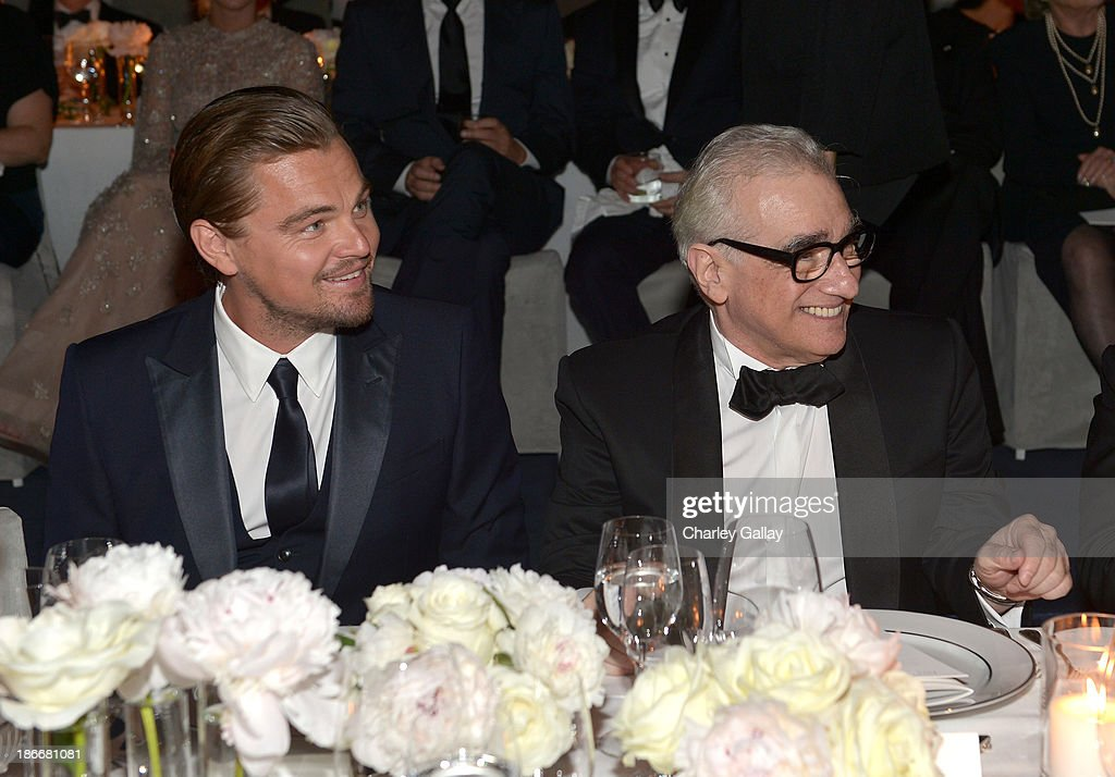 Art+Film Gala Co-Chair <a gi-track='captionPersonalityLinkClicked' href=/galleries/search?phrase=Leonardo+DiCaprio&family=editorial&specificpeople=201635 ng-click='$event.stopPropagation()'>Leonardo DiCaprio</a> and honoree <a gi-track='captionPersonalityLinkClicked' href=/galleries/search?phrase=Martin+Scorsese&family=editorial&specificpeople=201976 ng-click='$event.stopPropagation()'>Martin Scorsese</a>, wearing Gucci, attend the LACMA 2013 Art + Film Gala honoring <a gi-track='captionPersonalityLinkClicked' href=/galleries/search?phrase=Martin+Scorsese&family=editorial&specificpeople=201976 ng-click='$event.stopPropagation()'>Martin Scorsese</a> and David Hockney presented by Gucci at LACMA on November 2, 2013 in Los Angeles, California.