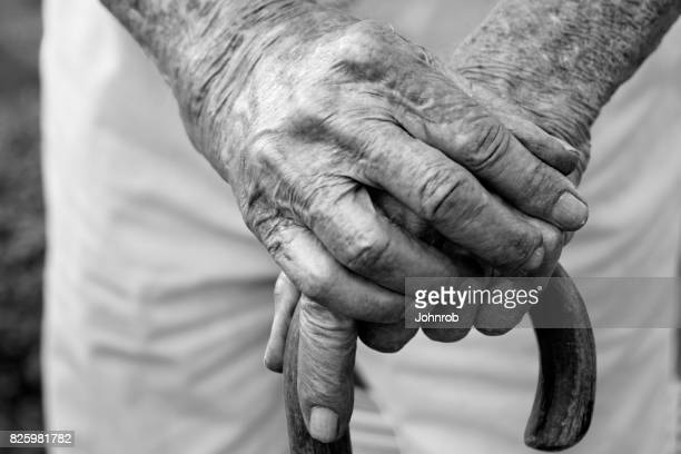 Arthritic Hands on cane, black and white photograph. Looking down view at hands