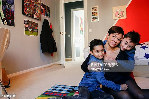 Arthur a young autistic who has progressed thanks to a new American method teached in a French pilot school is photographed for Paris Match in the...